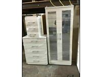BRAND NEW ASSEMBLED BEDROOM FURNITURE SET INCLUDES WARDROBE,CHEST OF DRAWERS AND BEDSIDE,ALL COLORS