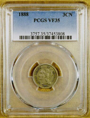 1888 PCGS VF35 Three Cent Nickel