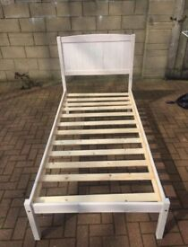 White painted pine single bed with mattress