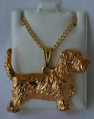 Petit Basset Griffon Dog 24K Gold Plated Pewter Pendant Chain Necklace Set