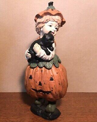 Bethany Lowe ? Halloween Jack-O-Lantern Girl With Cat Rare- Vintage- Htf
