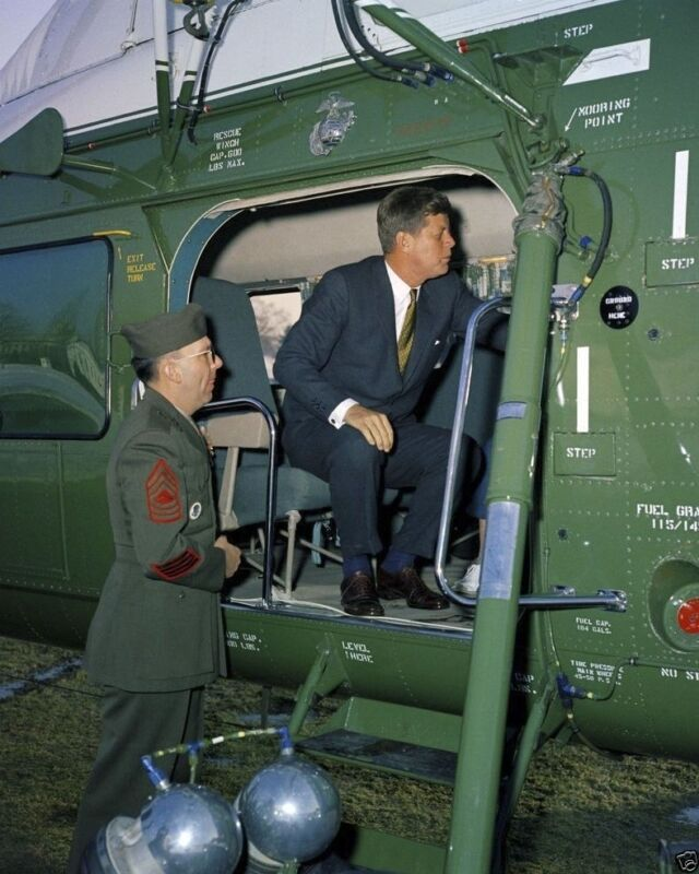President John F. Kennedy sits in Presidential helicopter New 8x10 Photo