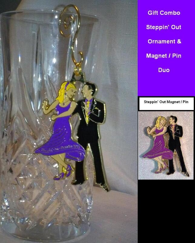 """Unique Ballroom Dance Gifts/ Ornament & Magnet  """"Steppin Out""""-Purple & Black"""