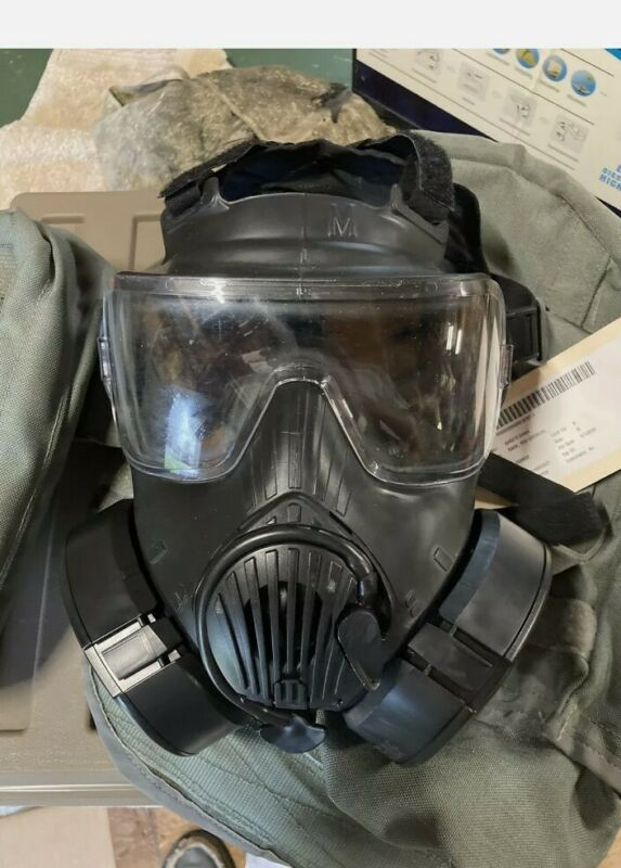 Avon M50 Gas Mask,USGI CBRN Gas Mask MEDIUM M50 Dual Filter With Protective with