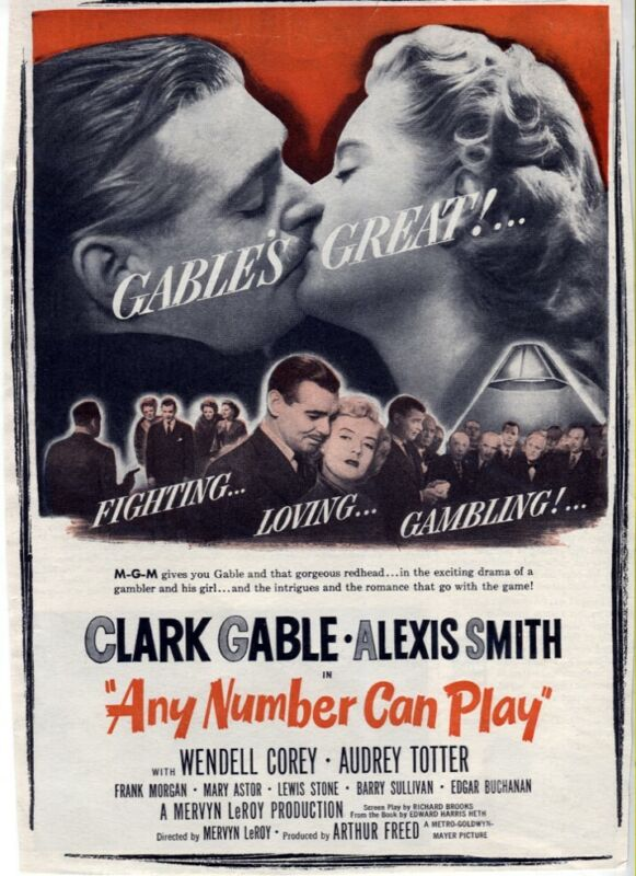 Vintage Any Number Can Play 1949 Clark Gable Alexis Smith Movie Magazine AD