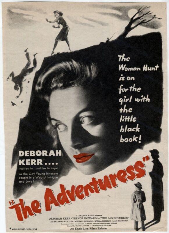 VTG The Adventuress/I See a Dark Stranger 1946 Spy Movie Mag AD Deborah Kerr