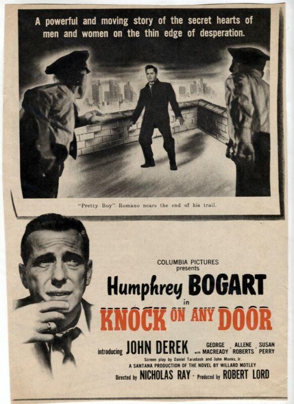 VTG Knock on Any Door 1949 NOIR Movie Ad Humphrey Bogart Magazine Print AD