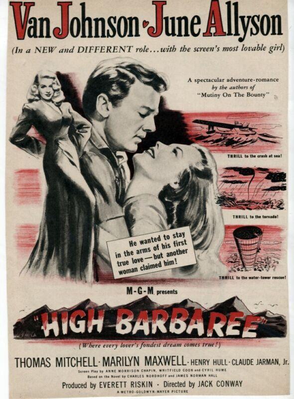 Vintage High Barbaree 1947 Van Johnson June Allyson Movie ad Magazine AD