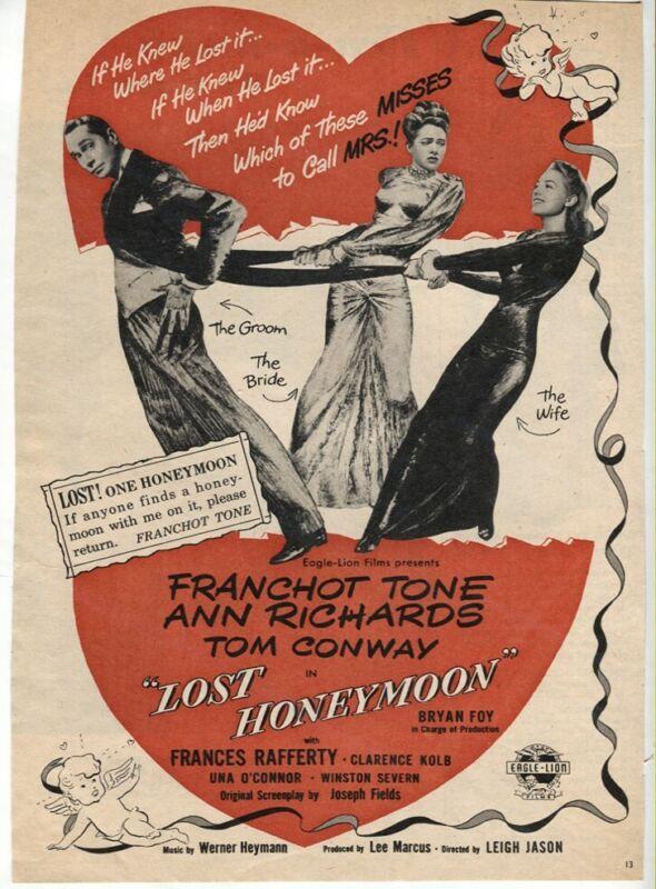 Vintage Lost Honeymoon 1947 Franchot Tone Ann Richards Movie Magazine AD
