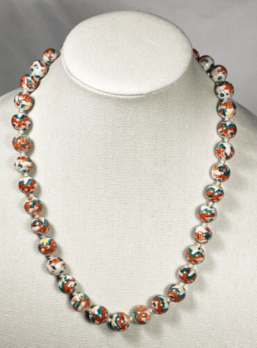 """CHINESE HAND PAINTED  WHITE PORCELAIN  DRAGON BEADED NECKLACE 24"""" MATINEE LENGTH"""