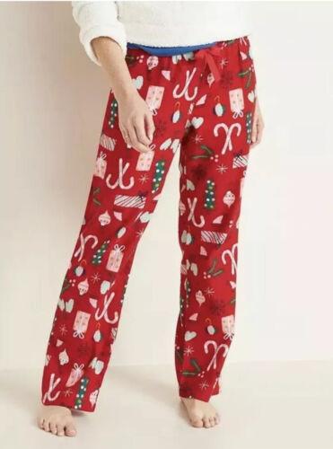 OLD NAVY Women's Drawstring Flannel Pajama Pants Red Chris