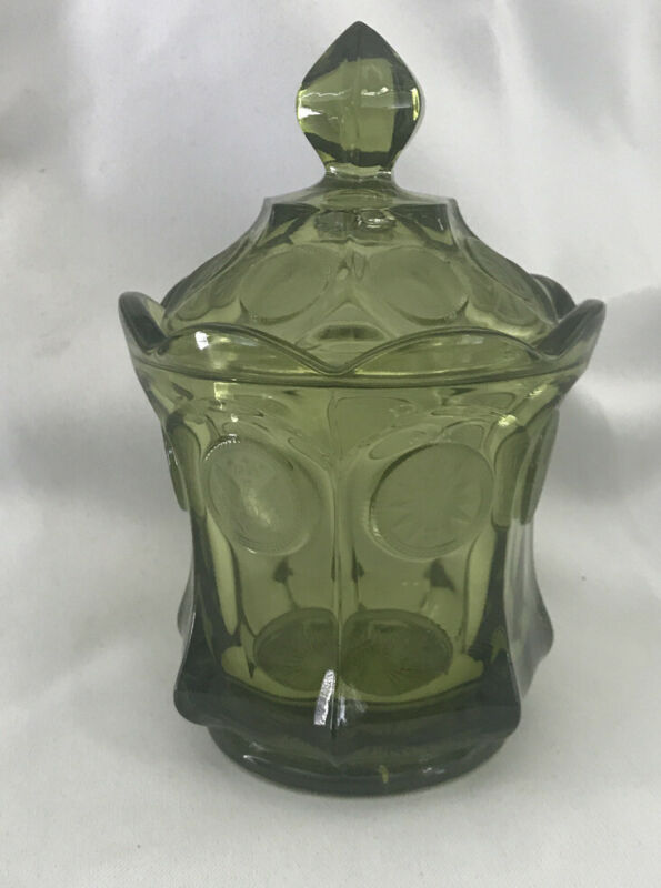 """Vintage Green Coin Pattern Candy Dish With Lid Fostoria  6"""" Tall"""
