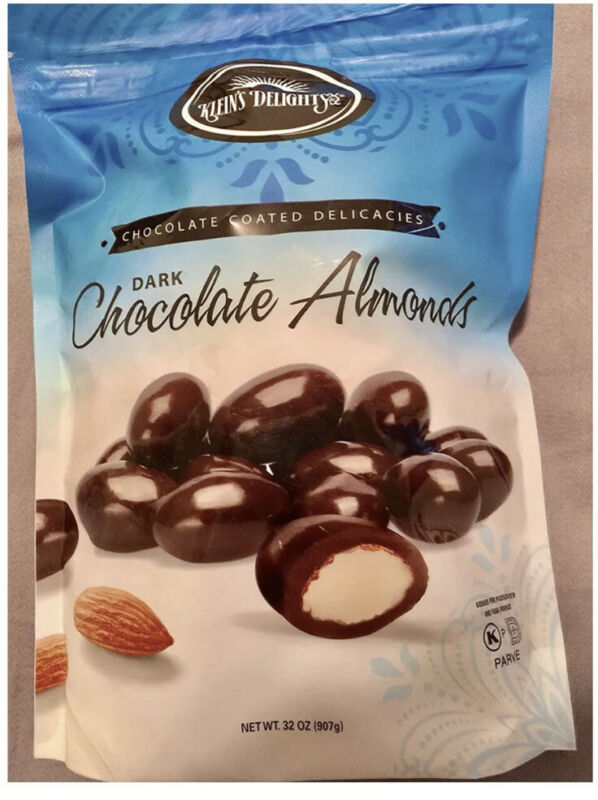 Kleins Delight Dark Chocolate Almond Chocolate Coated Delicacies.  32 Ounce Bag