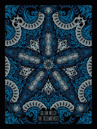 Todd Slater 2011 Decemberists & Gillian Welch ACL Taping Blue Screenprint Poster