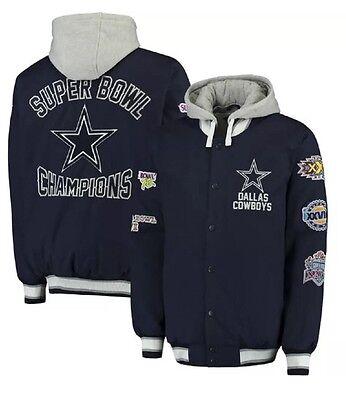Dallas Cowboys  5 Time Super Bowl Champions Glory Jacket By G Lll Navy Xl