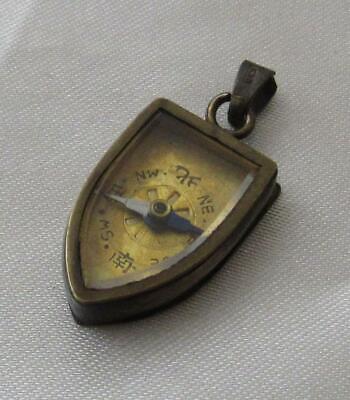 Antique K18 Gold Japanese Compass Pendant Engraved Back