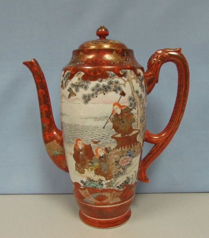 Antique large Kutani teapot with dragon handle high quality Meiji