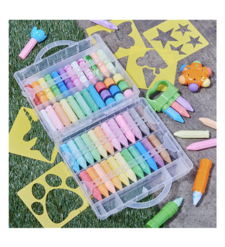 5 brochures step by step drawing learning educational for kids 48 pieces jumbo chalk compass chalk holder great gift for kids or artist sidewalk chalk educational