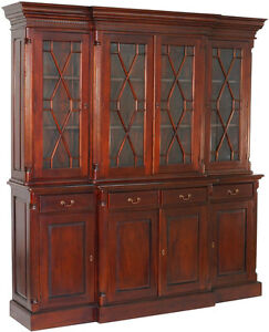 bibliotheque vitree style empire en bois acajou massif meuble anglais victorien ebay. Black Bedroom Furniture Sets. Home Design Ideas