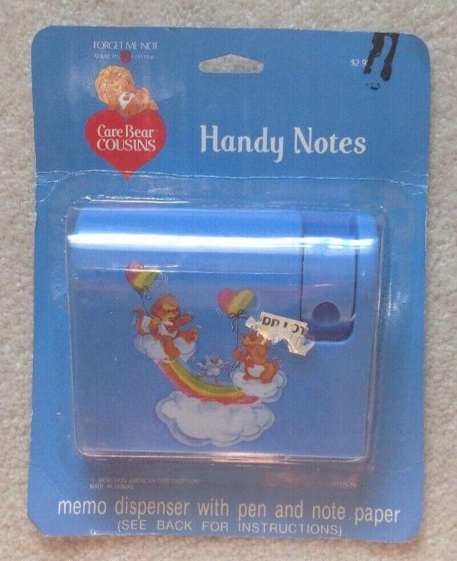 Vintage NEW Care Bear Cousins Handy Notes memo dispenser pen paper NIB 1985