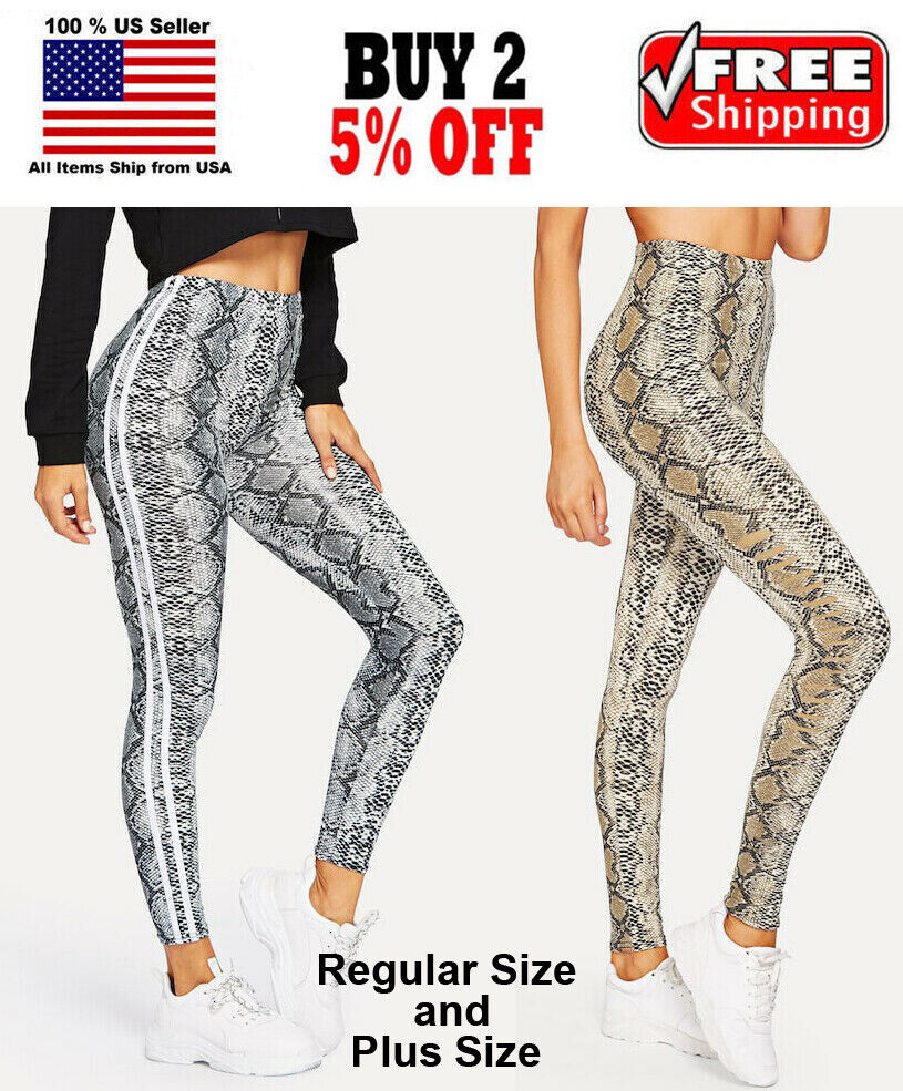 Women Brown or White Snake Skin Print Skinny Stretch Leggings Regular Plus Size Clothing, Shoes & Accessories