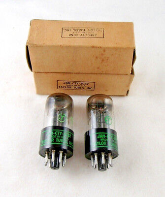 2C52 JAN CTY High Grade 12SL7GT NOS TAYLOR Round Black Plate Tubes Hickok Tested (Rounded Tube)