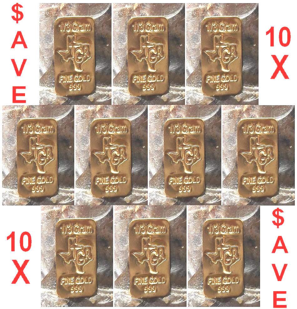 GOLD 24K PURE BULLION 10  BARS of one third GRAM 999 FINE INGOT LOT $AVE ! BIN13