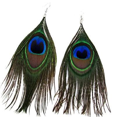 Genuine Natural Peacock Feather Pierced Earrings Hook Fastener