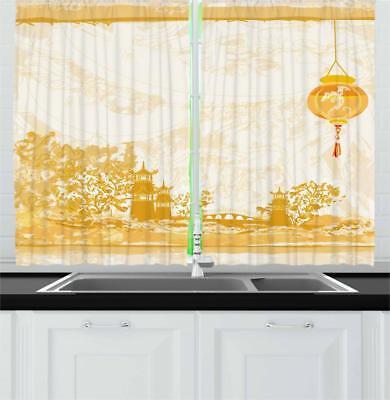 "Lantern Kitchen Curtains 2 Panel Set Window Drapes 55"" X 39"""