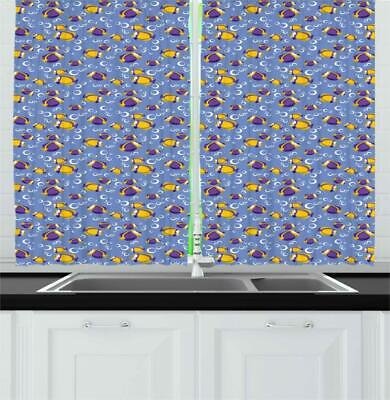Yellow and Blue Kitchen Curtains 2 Panel Set Window Drapes 5