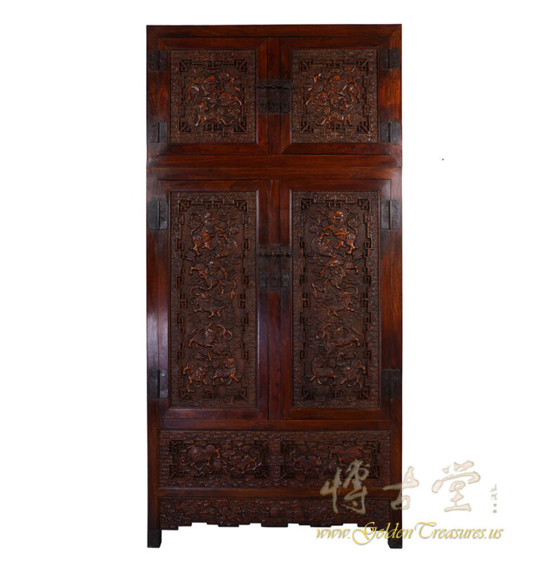 Chinese Antique Carved Camphor Wood Compound Wardrobe 17LP46