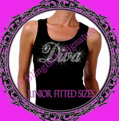 New Juniors Rhinestone DIVA - Letter CLEAR - Tank Top Shirt - Stylist T-Shirt