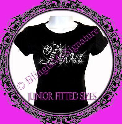 New Juniors Rhinestone DIVA - Letter CLEAR - T Shirt - Bling Stylist T-Shirt