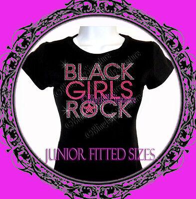 New Juniors Rhinestone BLACK GIRLS ROCK - Neon Pink - T Shirt - Iron on Transfer