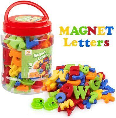 Magnetic Letters Numbers Alphabet Fridge Magnets Colorful Plastic Toy Set 78 Pcs