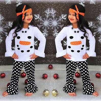 USA Toddler Kids Girls Christmas Snowman Olaf Tops Dot Pants Outfits Set