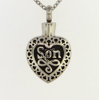 Son Heart Cremation Jewelry Pendant Keepsake Urn with 20
