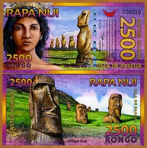 Easter-Island-2500-2-500-Rongo-2011-Polymer-New-UNC-Beautiful