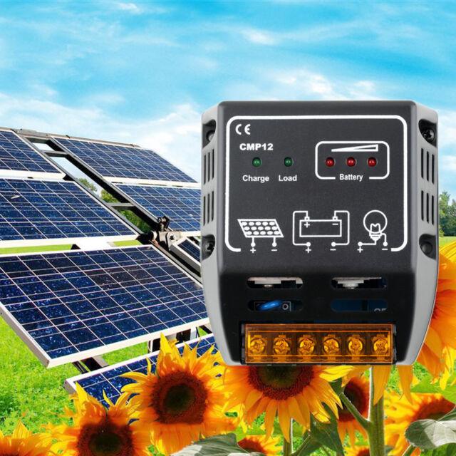 Solar Panel Charger Controller Regulator 10A 12V/24V, Auto Switch CE TSR Safe #T