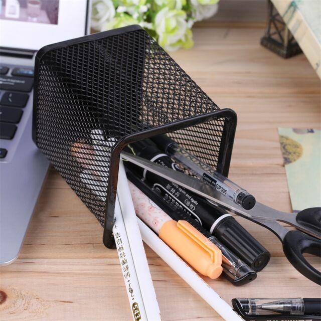 Office Desk Metal Mesh Square Pen Pot Cup Case Container Organiser Holder GA