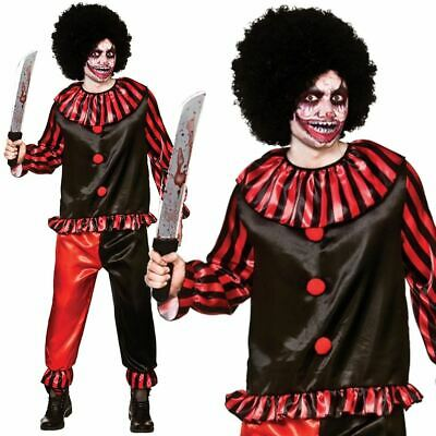 Evil Horror Clown Mens Fancy Dress Halloween Circus Scary Spooky Adult (Spooky Clown Kostüm)