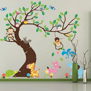 Cute Monkey Owl Animals Zoo Removable Kids Wall Sticker Decal Nursery Decor GT