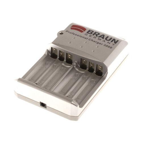 Braun Schnell Batterieladegerät AAA AA mit Netzkabel und 12V Auto Ladekabel