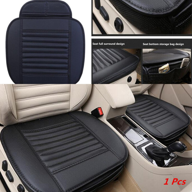 1x Useful Bamboo Charcoal Seatpad PU Leather Car Chairs Seat Surround Cover Pad