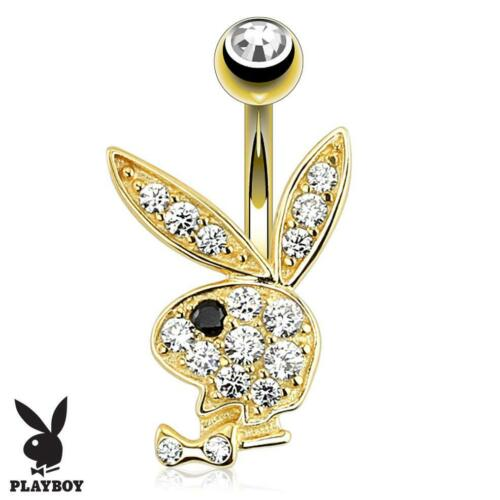 14G Gold PLAYBOY Bunny Belly Button Navel Ring Body CZ Stone/ Stainless Steel