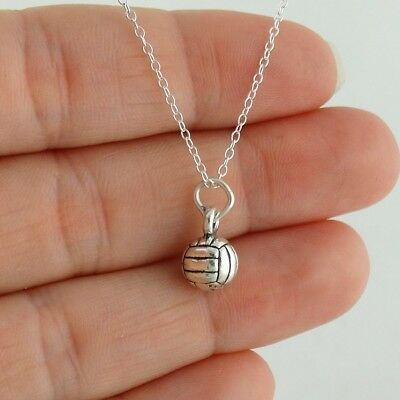 Tiny Volleyball Charm Necklace, 925 Sterling Silver Sport Team Gift Coach School](Volleyball Charm)
