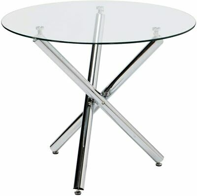 """35"""" Modern Kitchen Dining Table Furniture with Round Glass for Living Room"""