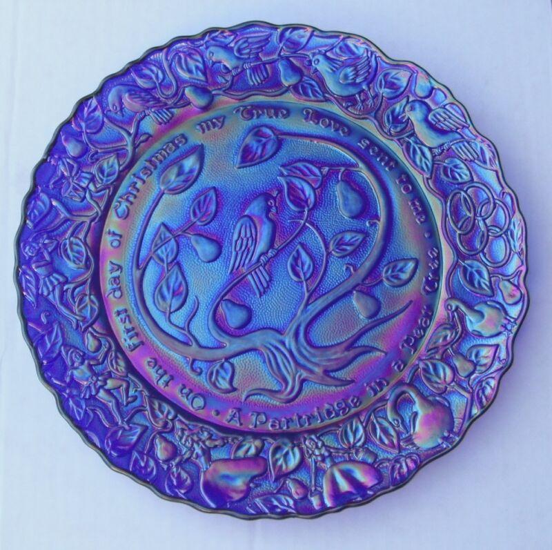Carnival  Glass--Christmas Plates # 1, 2, 9, 10---de..1970,1971,1978,1979