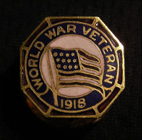 1918 WWI US VETERAN SCREWBACK ENAMELED PIN - WW1 WORLD WAR 1 SB AEF