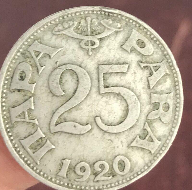 Kingdom of Yugoslavia 25 para 1920. coin